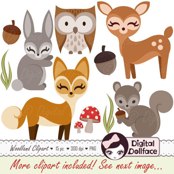 Forest owl deer fox. Woodland clipart small animal
