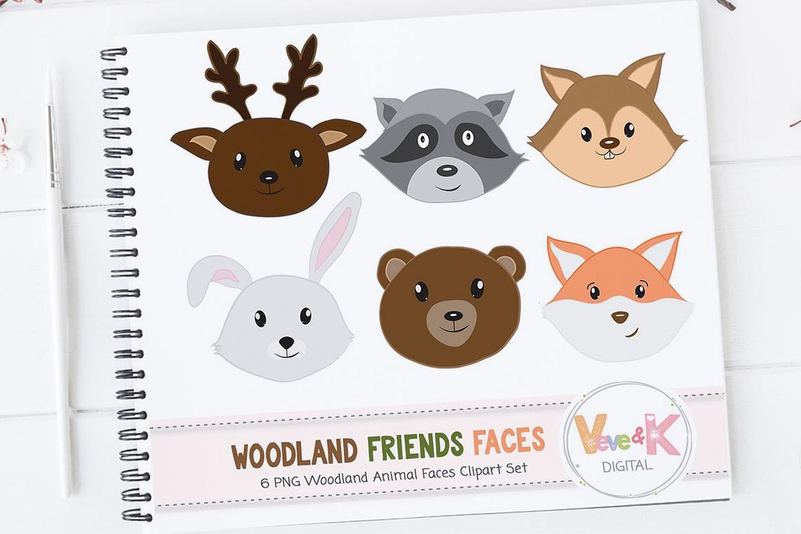 Forest animals faces woodland. Racoon clipart baby fox