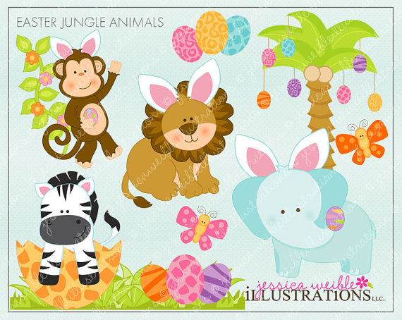 Animals clipart easter. Jungle cute digital for