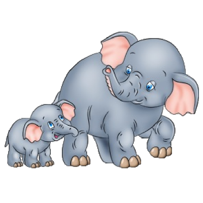 Cute baby and momma. Animal clipart elephant