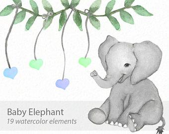 Animal clipart elephant. Clip art etsy watercolor