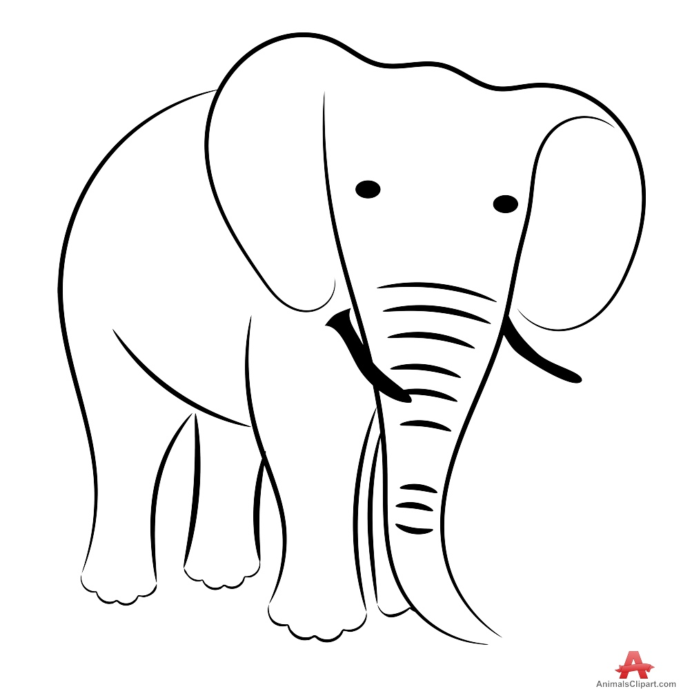 Animals clipart elephant. Drawing outline free design