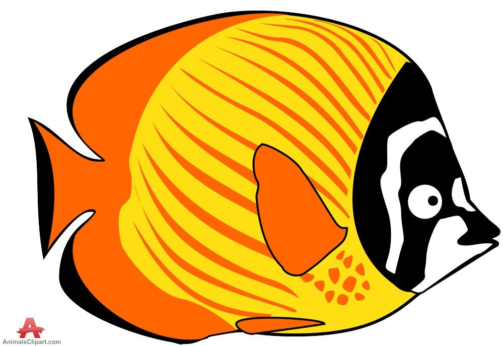 Fish clipart design. Exotic orange and yellow