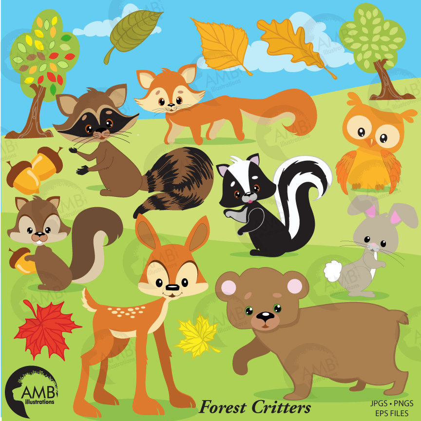 Woodland clipart forrest animal. Forest critters clip art