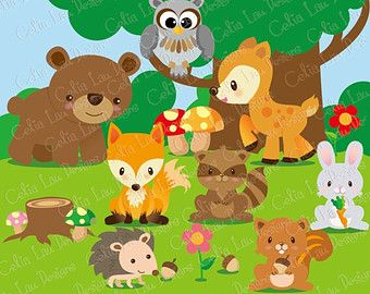 Showing gallery for with. Animals clipart forest