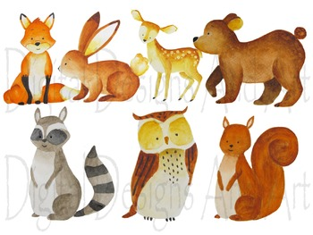 Watercolor woodland animal illustration. Animals clipart forest