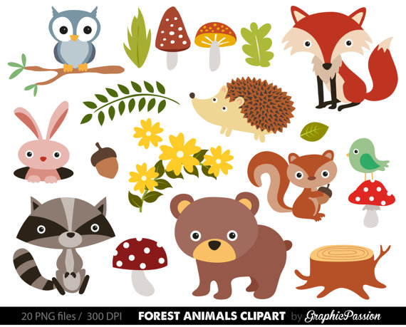 Baby digital woodland clip. Animals clipart forest