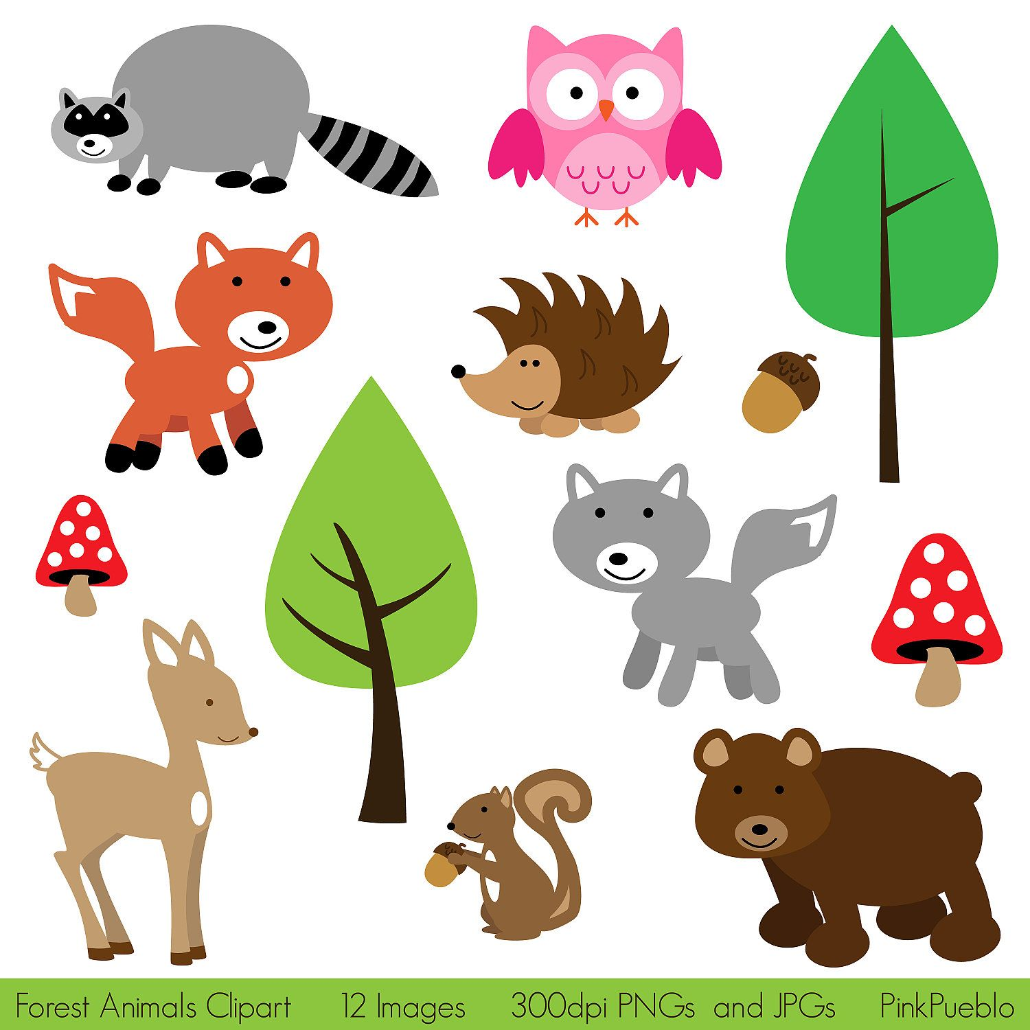 Animals clipart forest. Animal clip art woodland