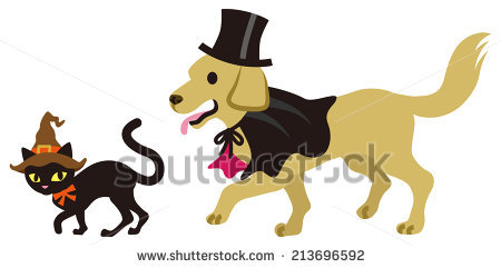 Dog fun for christmas. Animals clipart halloween