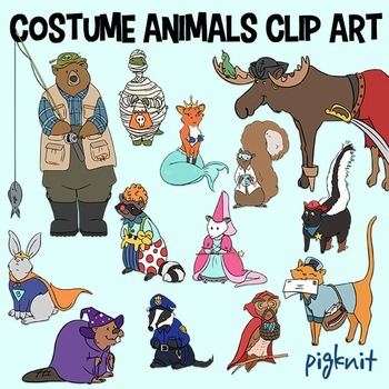 Costume clip art trick. Animals clipart halloween