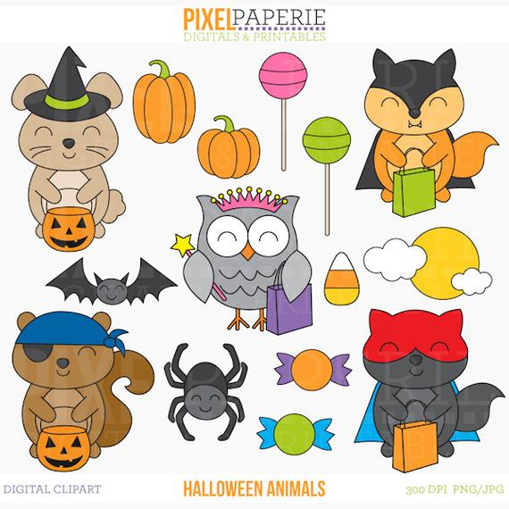 Clip art digital . Animals clipart halloween