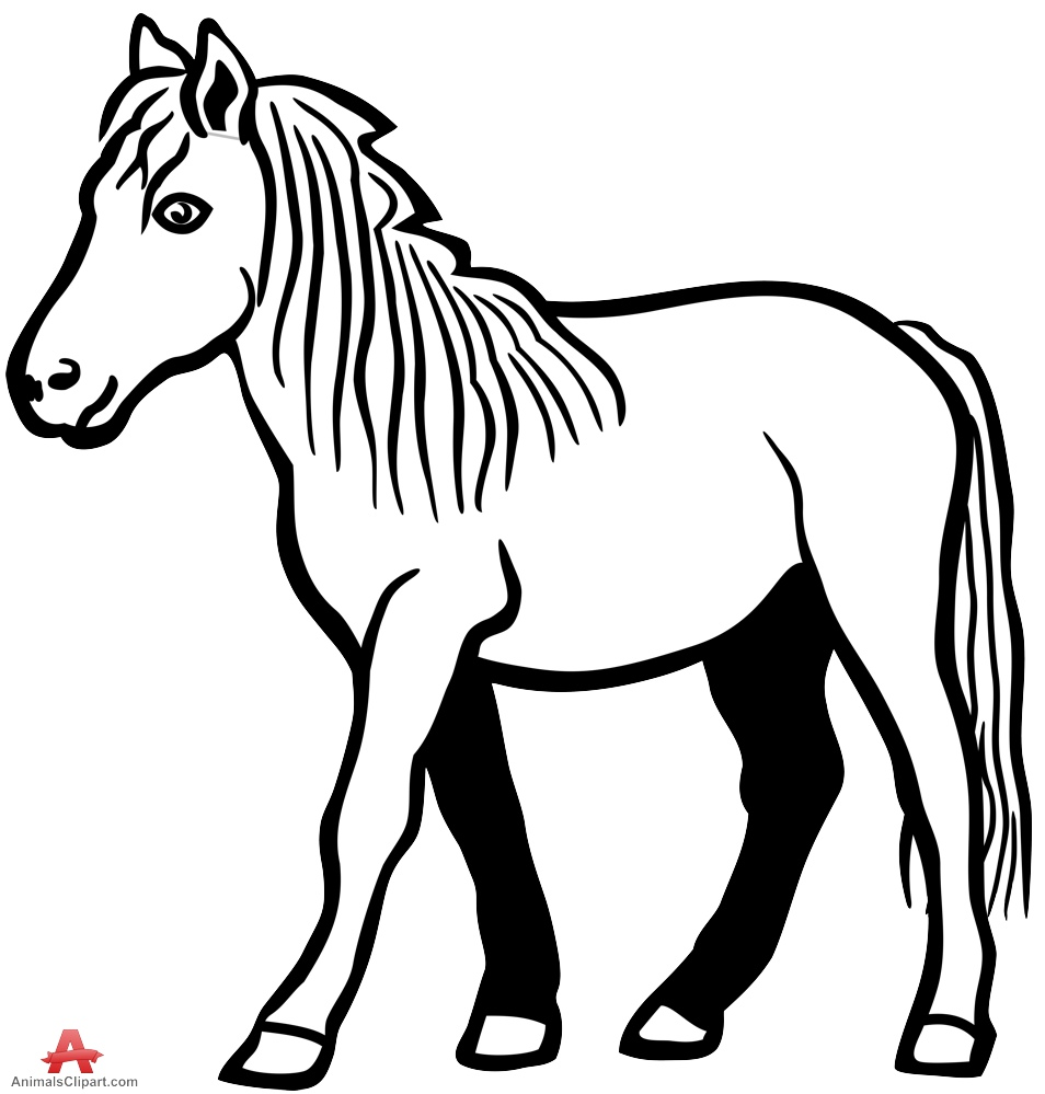 Drawing outline of in. Animals clipart horse