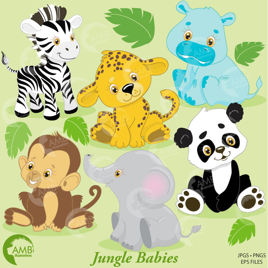 Jungle animals clip art. Clipart zebra hippo