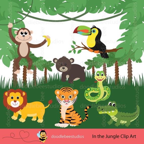 Doodle bee studios . Animals clipart jungle