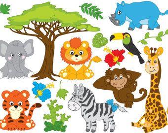 Animals clipart jungle. Animal safari clip art