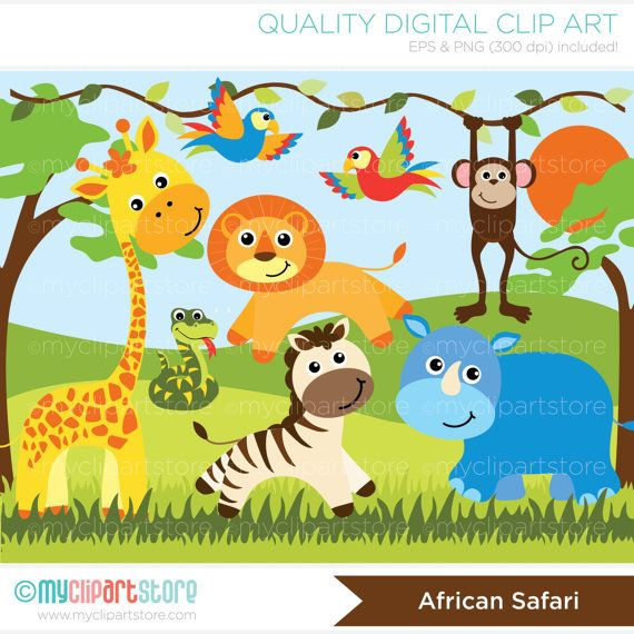 Animals clipart jungle. African
