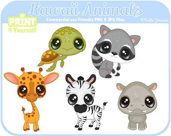 Animals clipart kawaii. Instant download safari