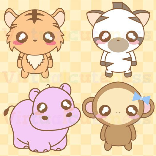 Kawaii zoo animals cute. Hippo clipart chibi