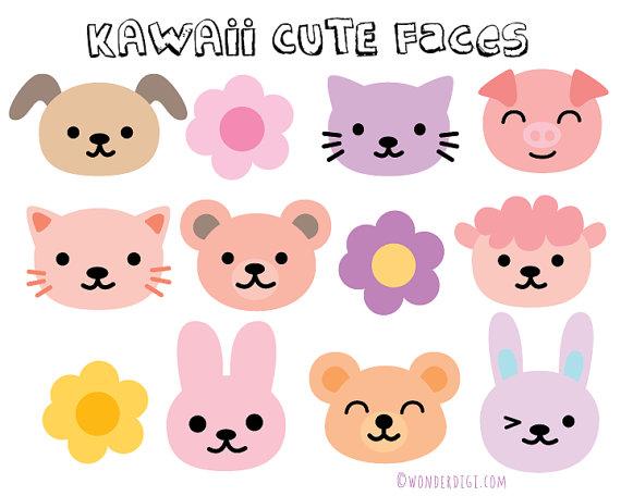 Animal face clip heads. Animals clipart kawaii