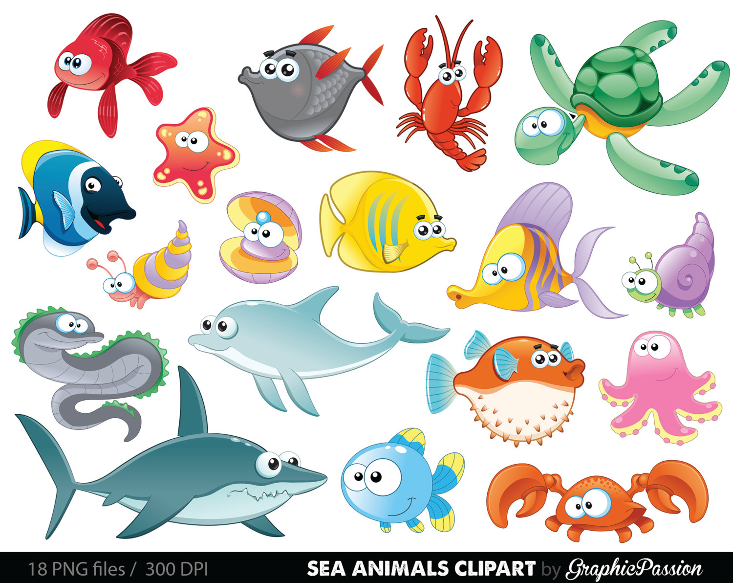 Sea animal under the. Animals clipart ocean