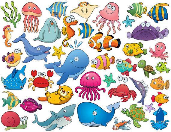 Clipart ocean critter. Instant download cute sea