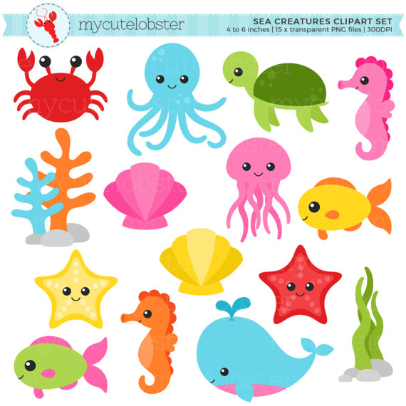 Sea creatures set clip. Animals clipart ocean