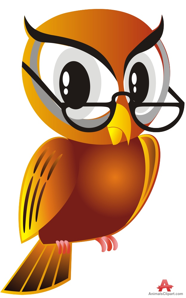 Animals clipart owl. Smart bird with glasses