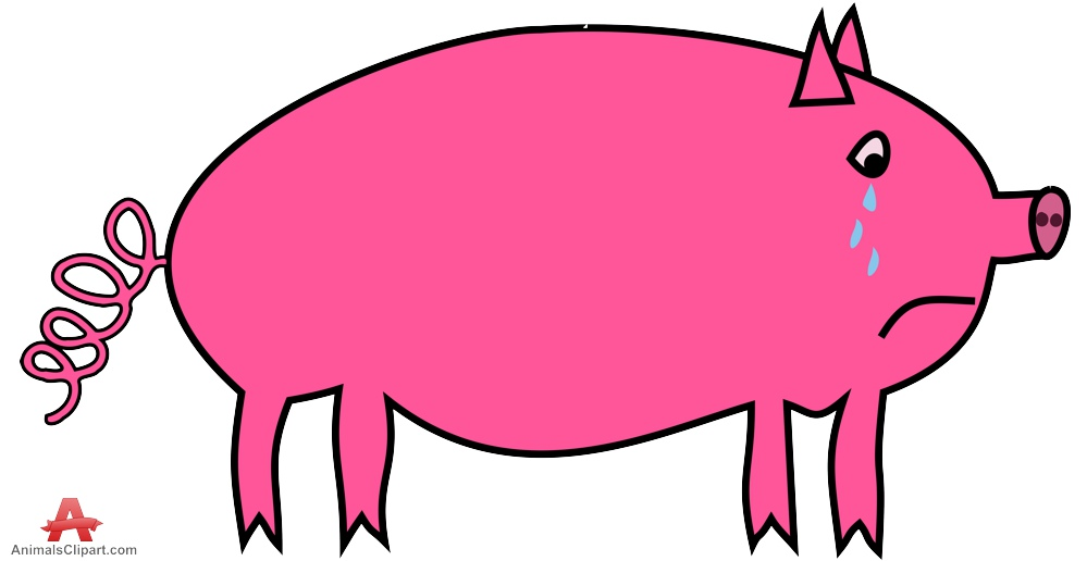 Sad crying free design. Animals clipart pig