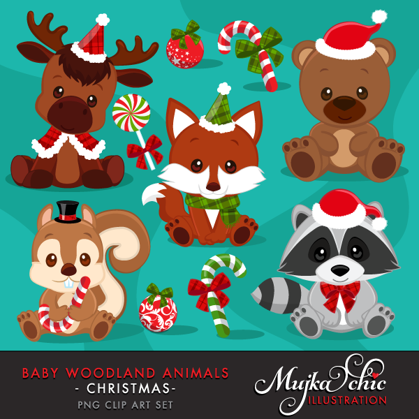 Christmas woodland animals mujka. Winter clipart baby