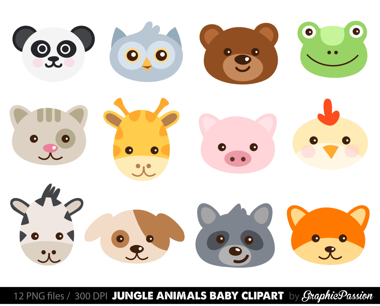 Animals clipart printable. Animal faces farm face
