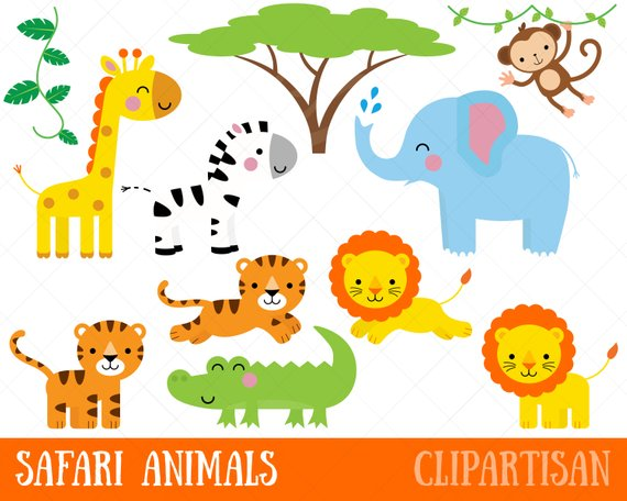 Safari jungle animal clip. Animals clipart printable