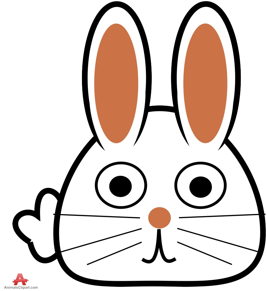 Drawing of face logo. Animals clipart rabbit