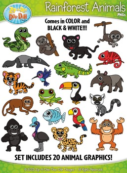Animals zip a dee. Chameleon clipart rainforest animal
