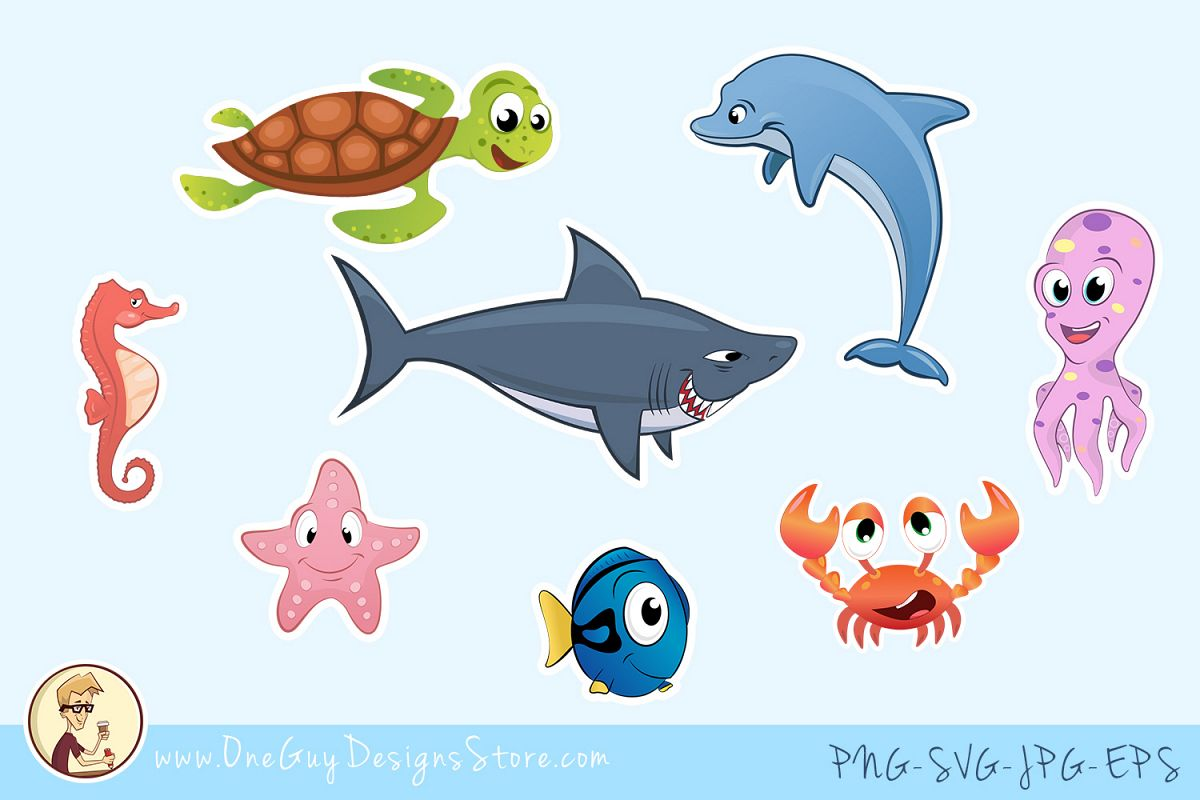 Underwater life cute characters. Animals clipart sea