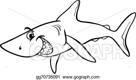 Vector animal cartoon coloring. Animals clipart shark