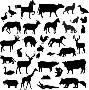 Animal clipart silhouette. Clip art free vector