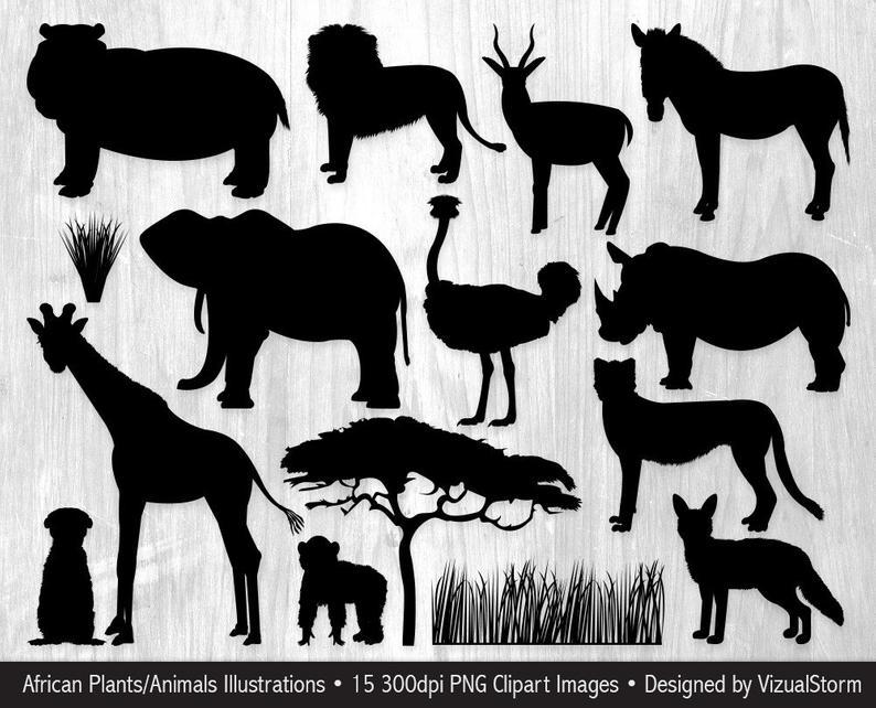 Animal clipart silhouette. African silhouettes safari jungle