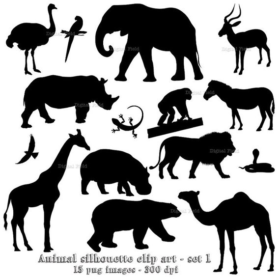 Clip art set wild. Animal clipart silhouette