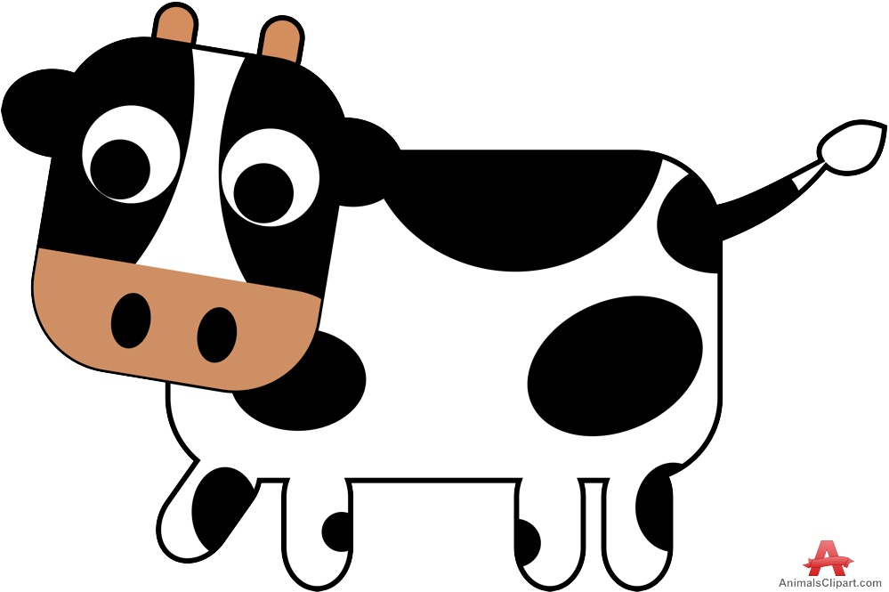 Black and white free. Animals clipart cow