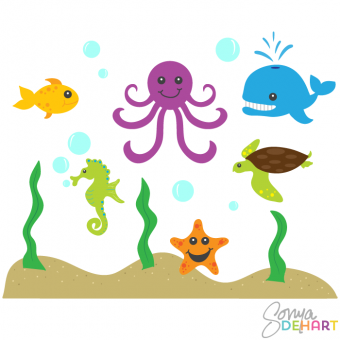 Animals clipart simple. Clip art ocean and