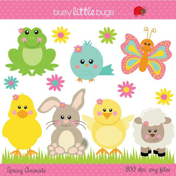 Includes color and blacklines. Animals clipart spring