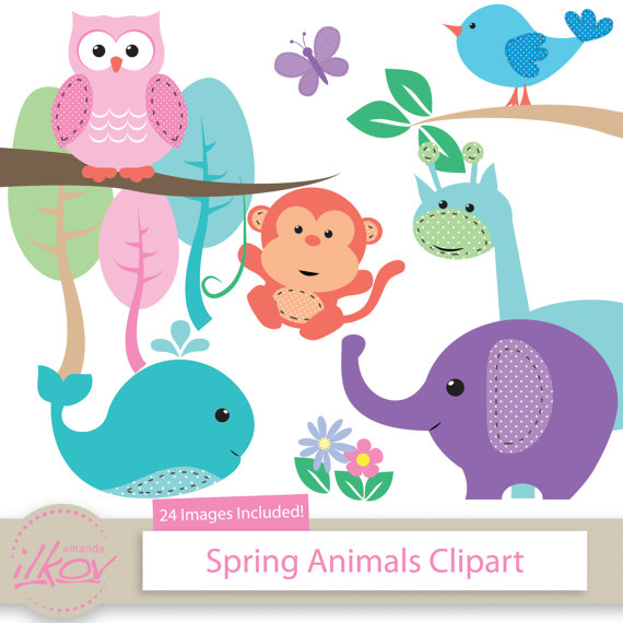Baby for digital scrapbooking. Animals clipart spring