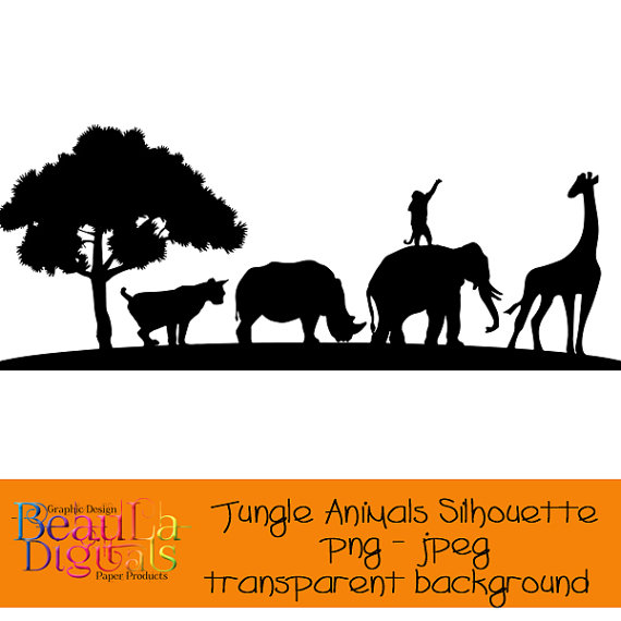 Jungle silhouette png jpeg. Animals clipart transparent background