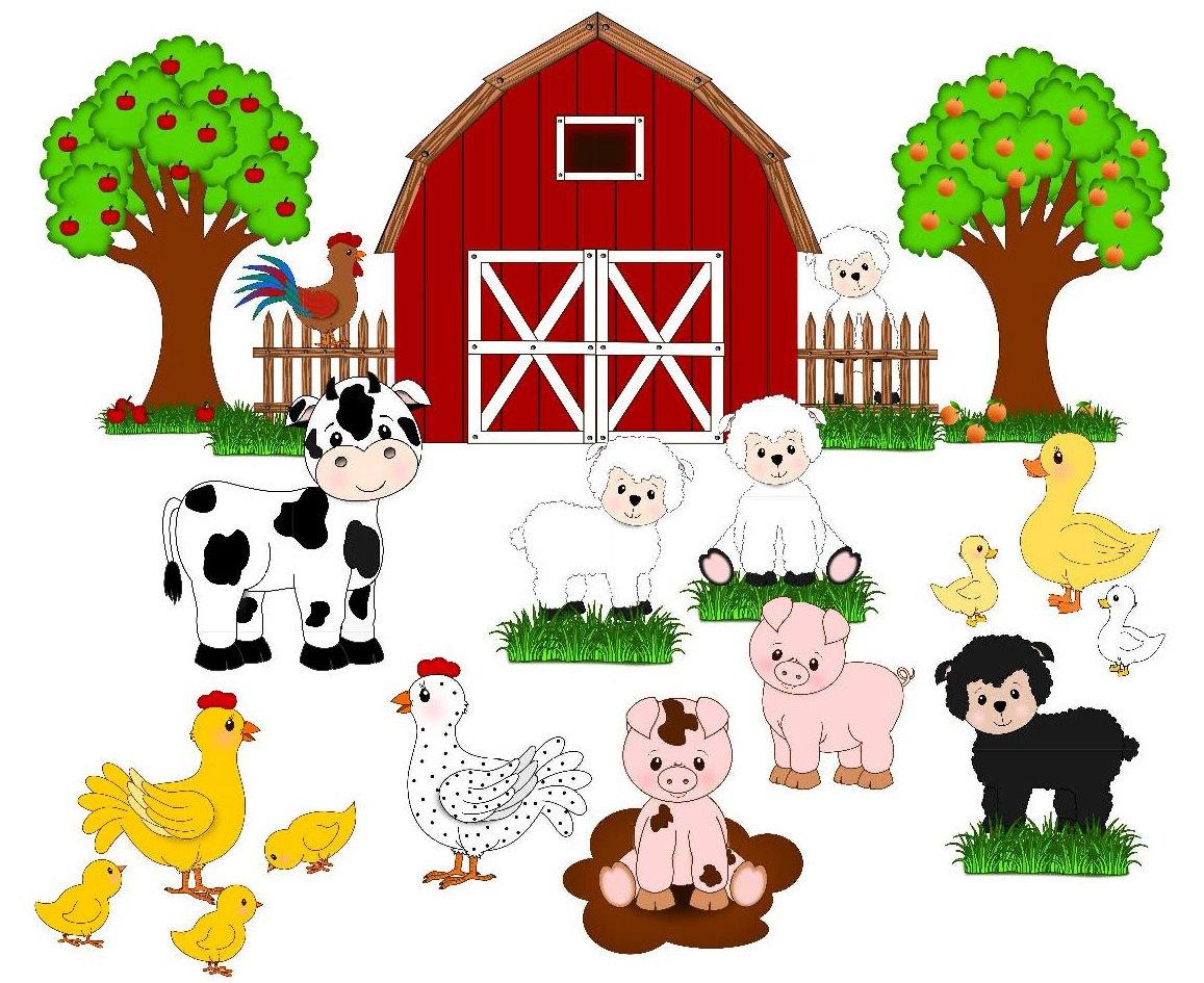 Farm clip art cute. Animals clipart transparent background