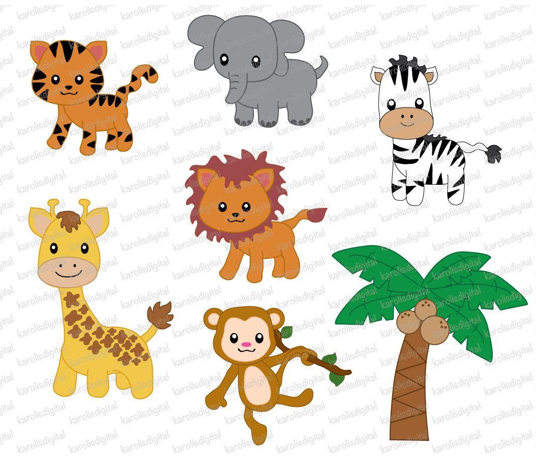 Jungle digital clip art. Animals clipart transparent background