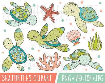Animal clipart turtle. Pink gold sea set