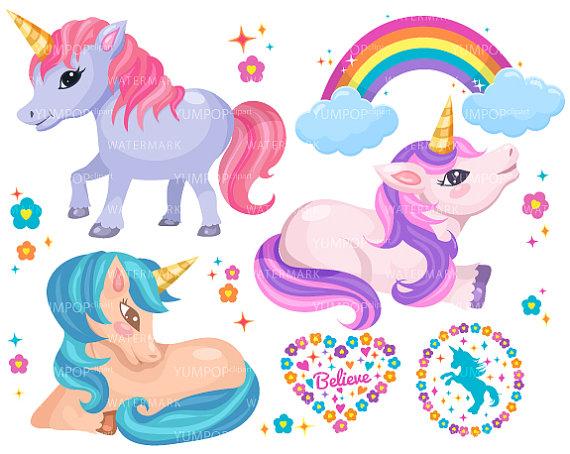 Cute unicorns pony horses. Animals clipart unicorn