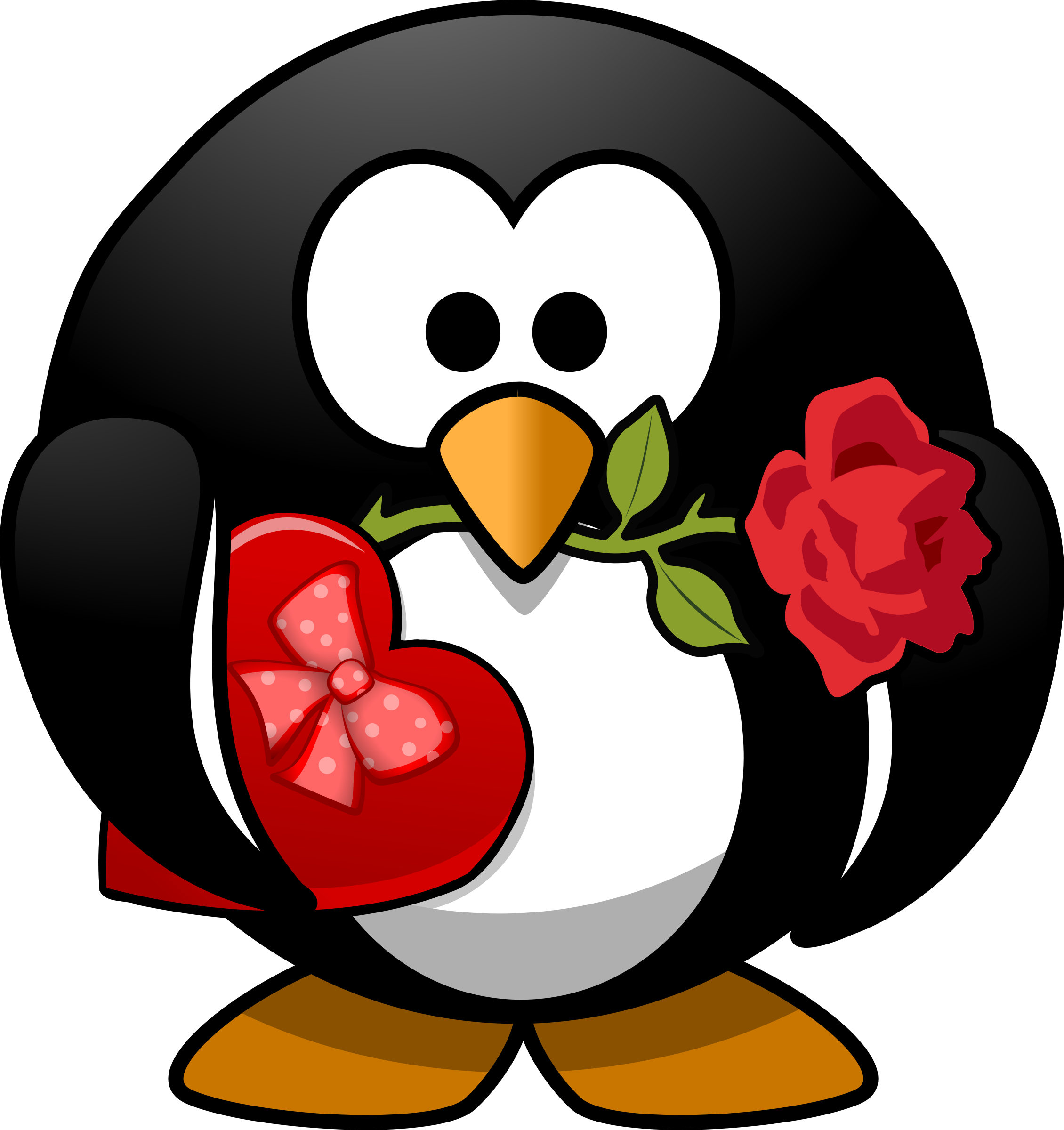 Valentine penguin big image. Clipart puppy valentines day