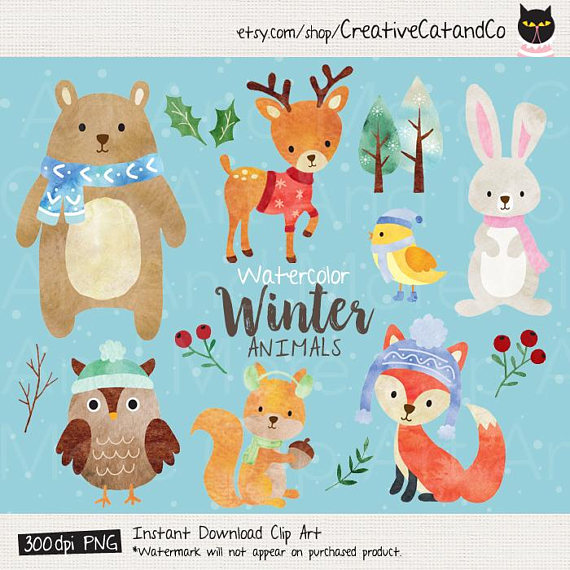 Animals clipart winter. Watercolor animal clip art