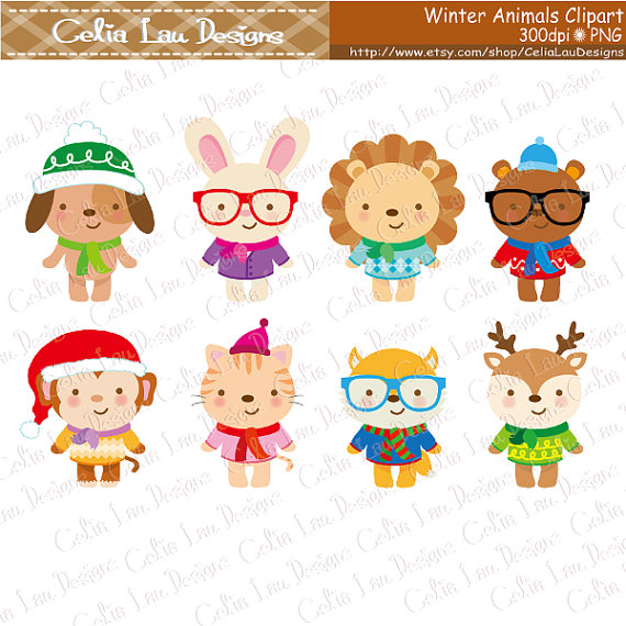 Animals clipart winter. Cute hipster clip art